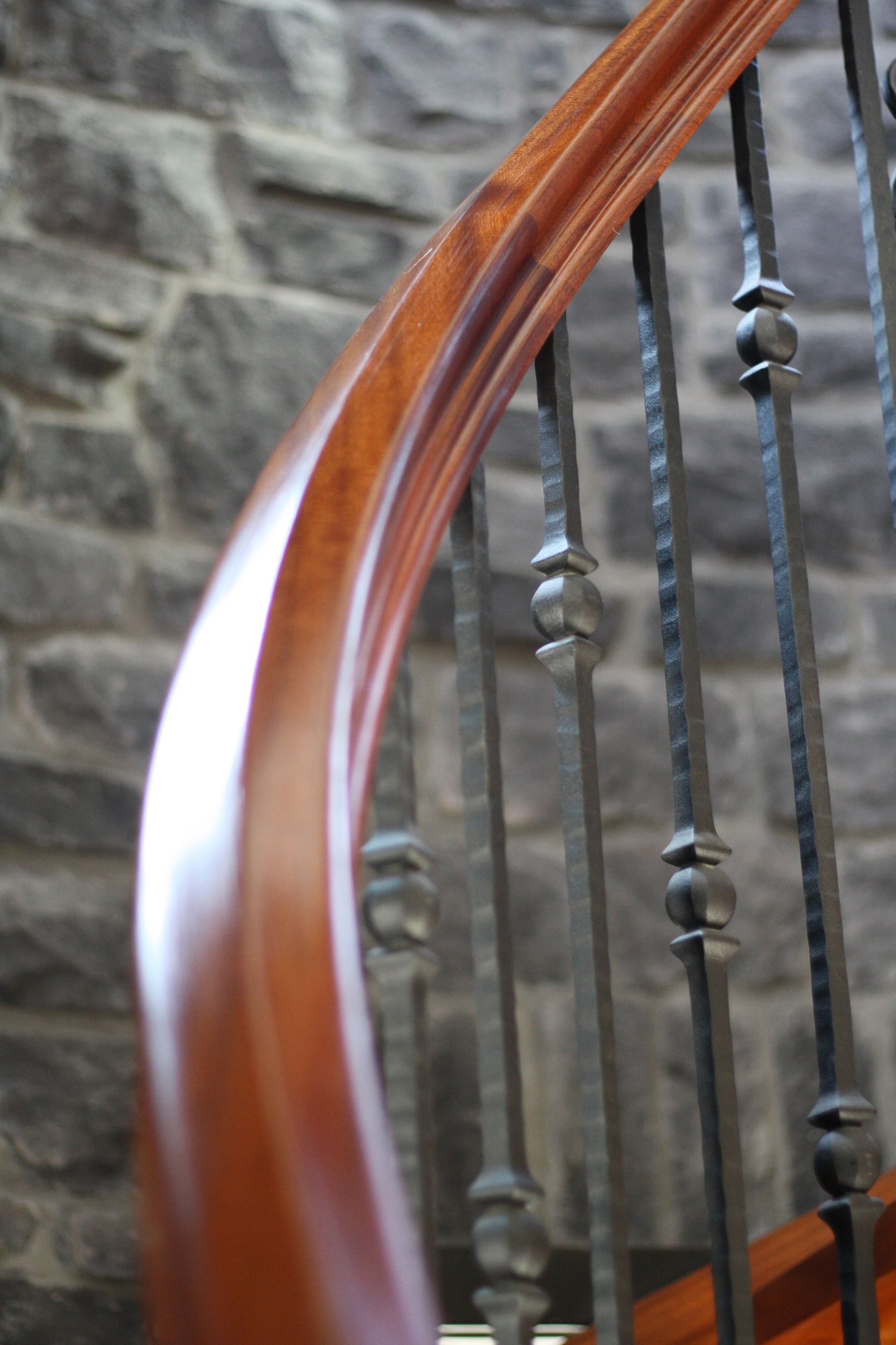 Best Wrought Iron Spindles With Sapele Handrail Wrought Iron 400 x 300