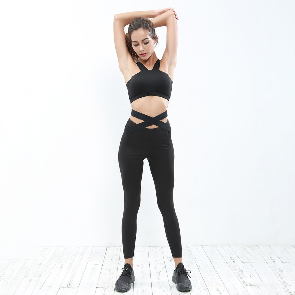 8a89d750957b0 Oberlo - Didiopt new model black women yoga set Straps cross sexy leggings  and sport bra free shipping
