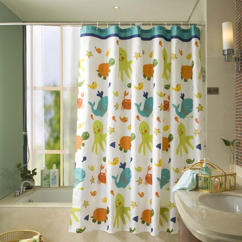 Robot Check Kids Shower Curtain Shower Curtain Fish Bathroom