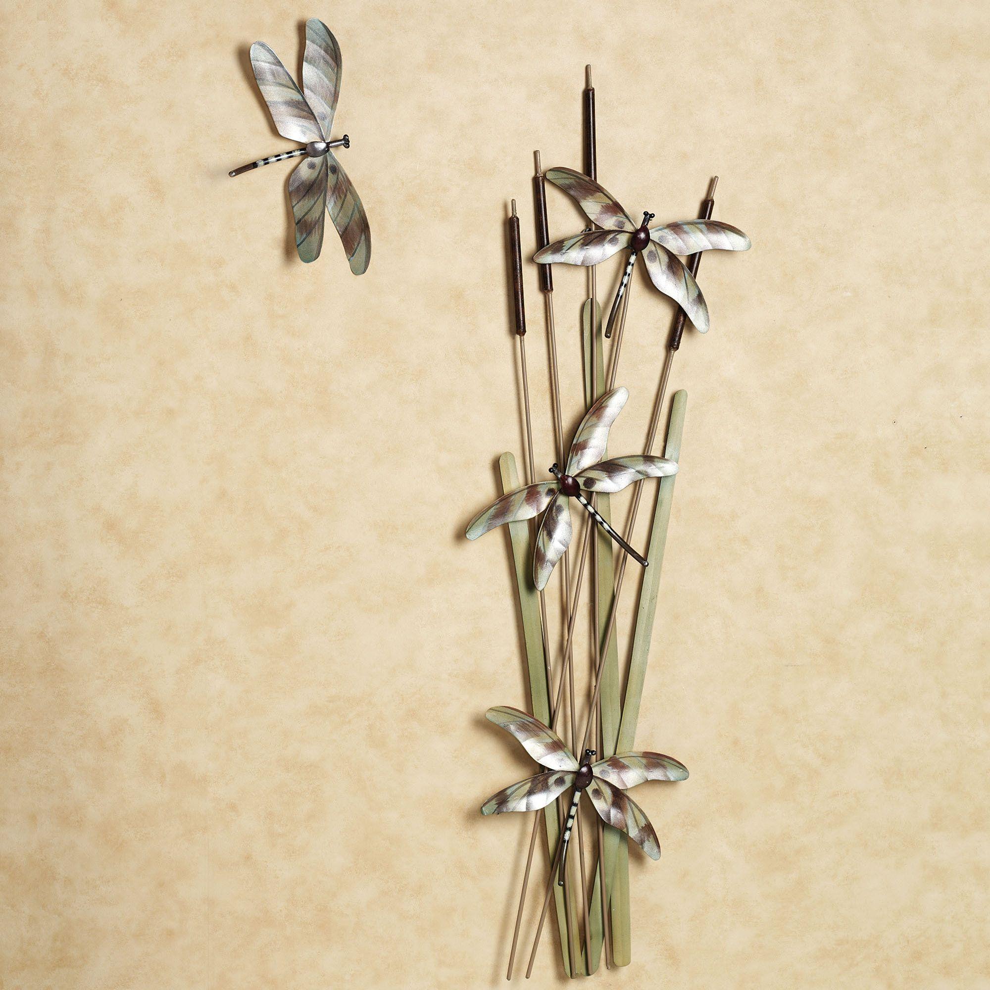 Dragonfly Metal Wall Art skimming the bulrush dragonfly metal wall sculpture set | metal