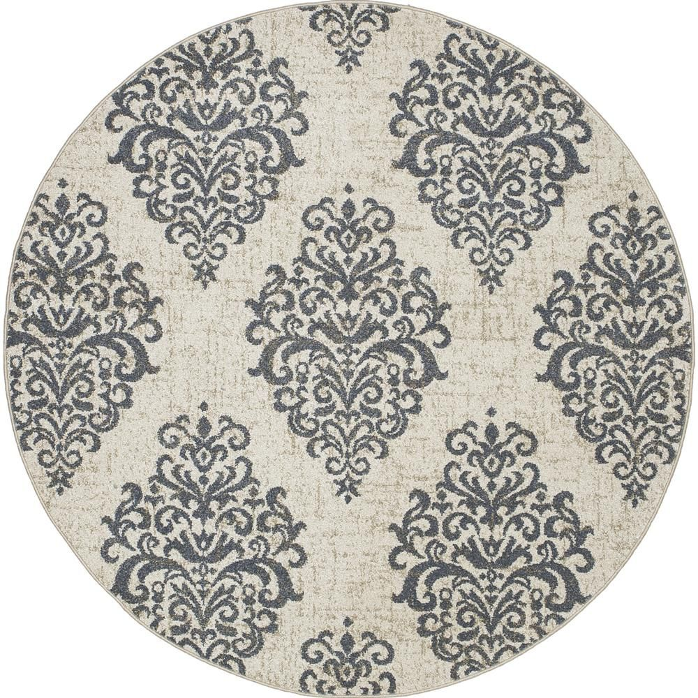 Concord Global Trading New Casa Damask Ivory Blue 5 Ft X 5 Ft