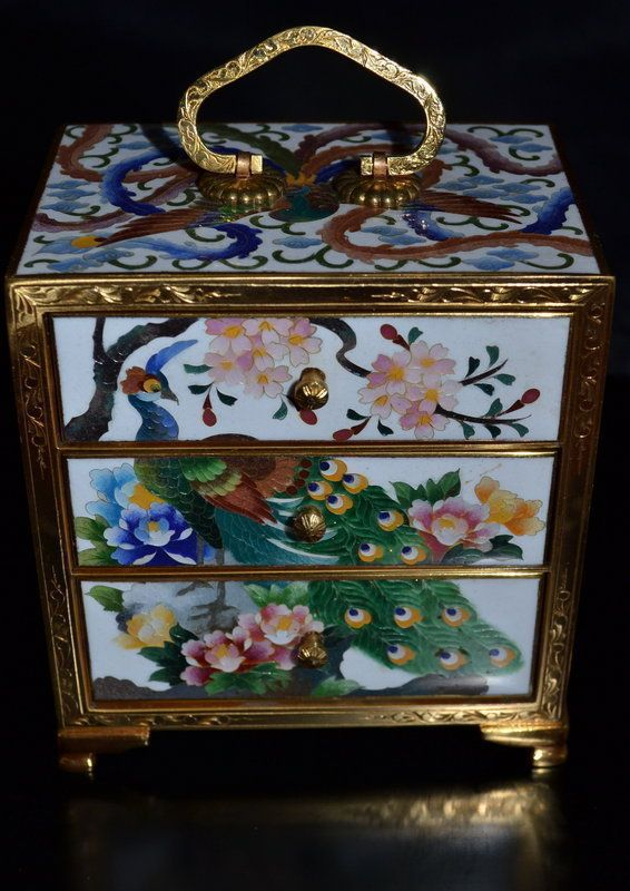 Old or Antique Japanese Cloisonne Box Jewelry Casket Inaba Mark