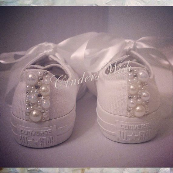 Pure White Pearl Converse / bridal converse / wedding converse/ Swarovski converse/ unique sneakers / stunning footwear