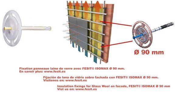 Fijación lana de vidrio sobre fachada
