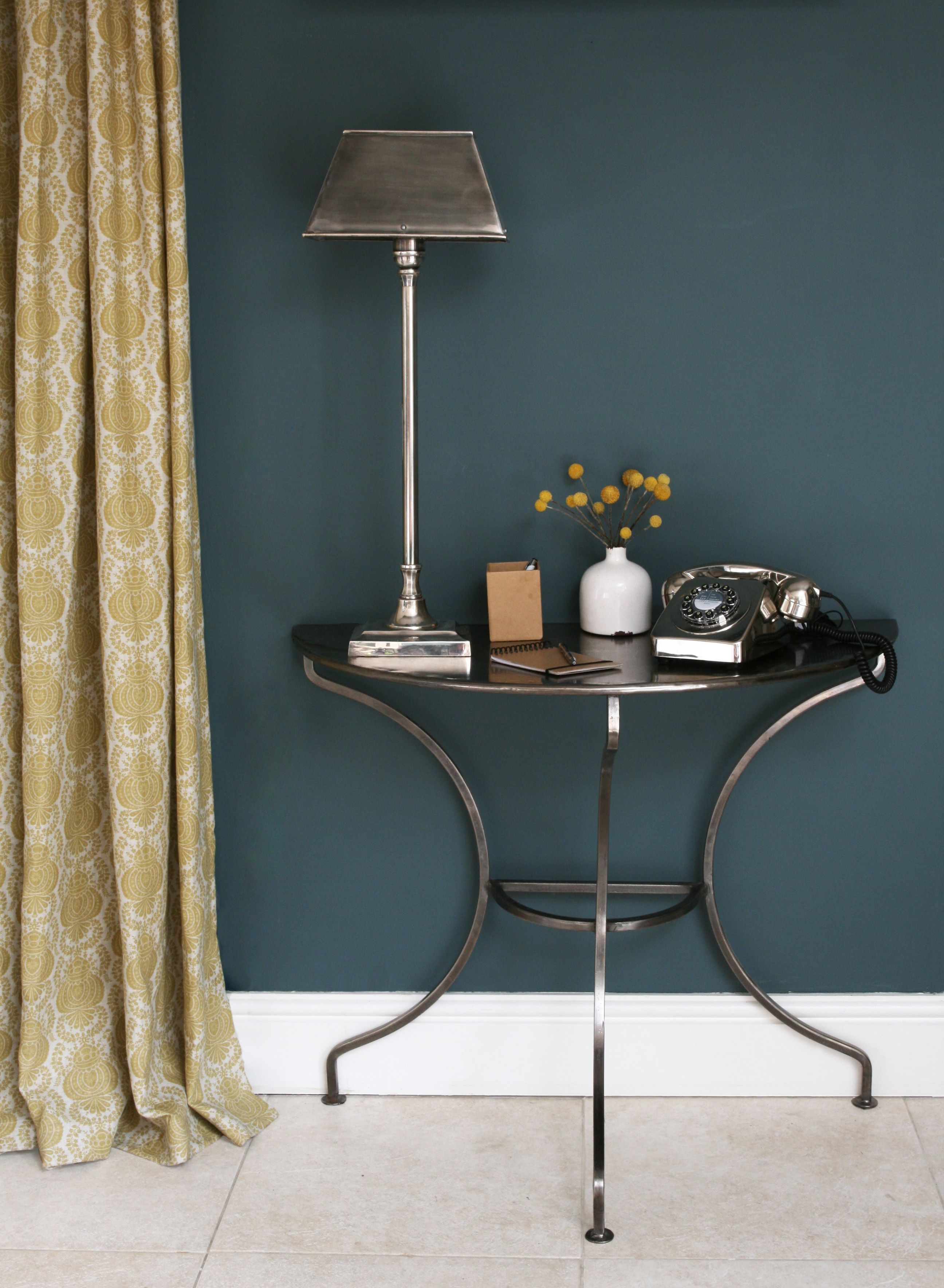 Margot Yellow perfectly complimenting Farrow & Ball's Inchyra Blue.