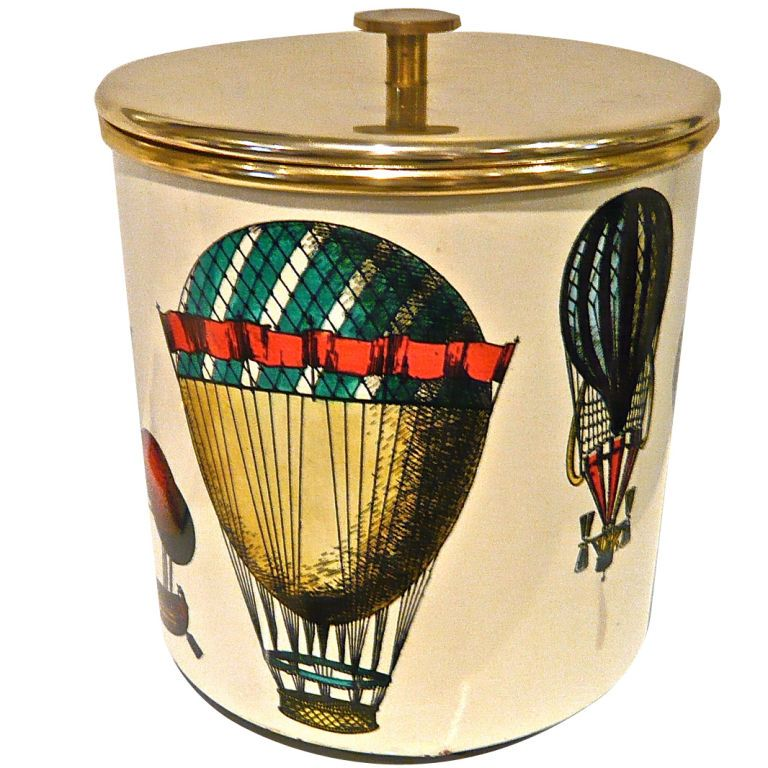 Fornasetti Ice Bucket from ITALY, 1950'S  TRANSFER PRINTED IMAGES OF AIR BALLOONS ON METAL CYLINDER WITH BRASS TOP AND INSERT.  EARLY LABEL.