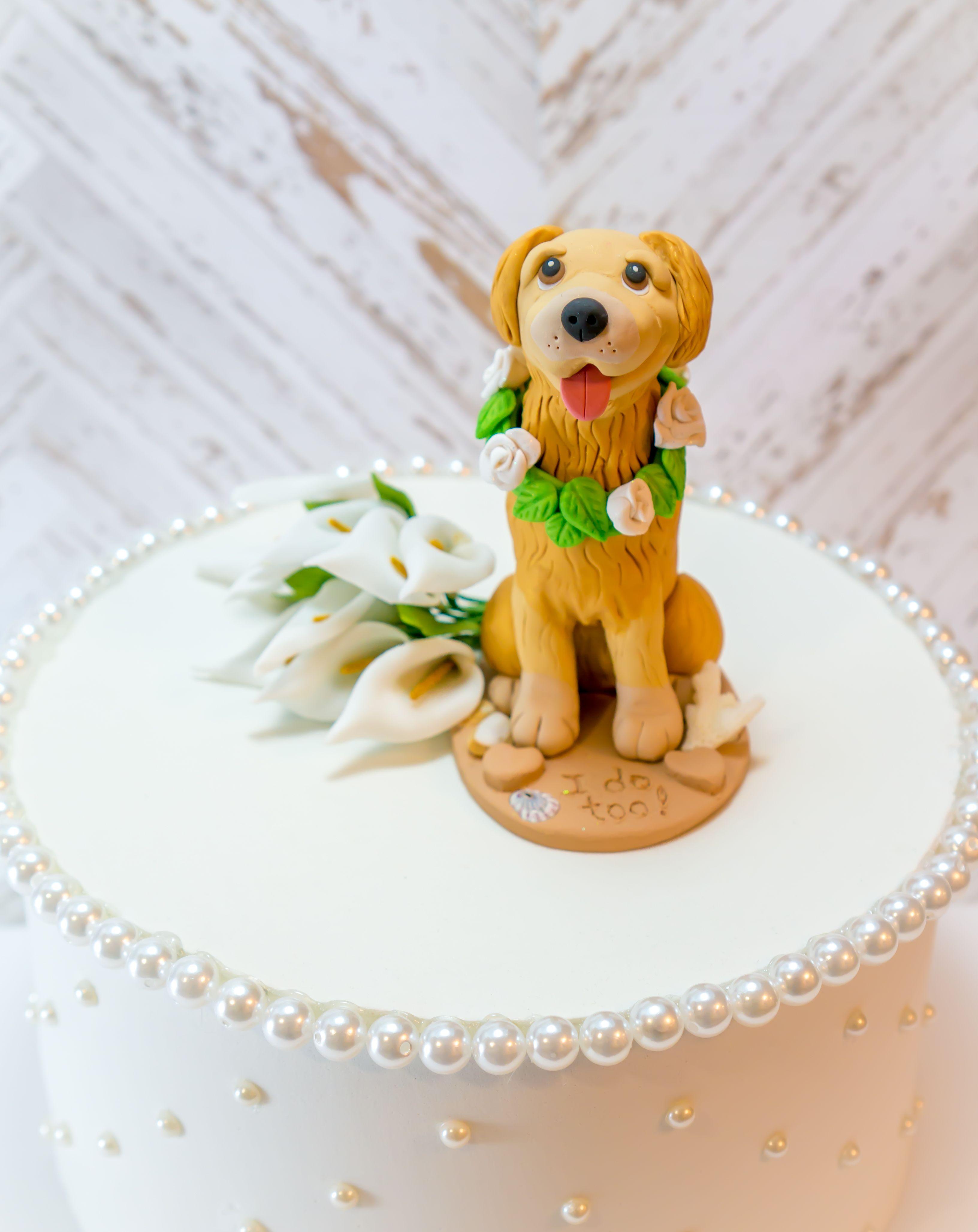Golden Retriever Wedding Dog Cake Topper With The Words I Do Too