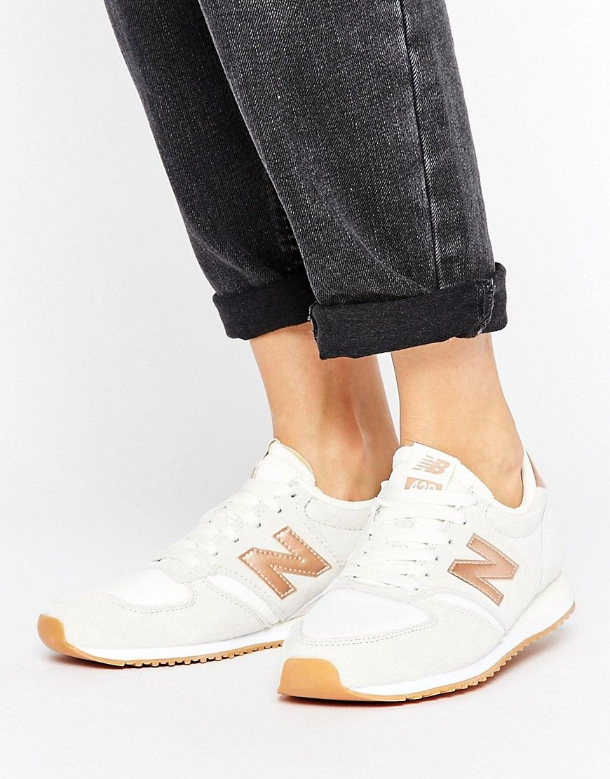 low priced bb252 f5a51 New Balance 420 Trainers In Off White With Rose Gold Trim - White. Trainers  by New Balance, Textile and suede upper, Lace-up fastening, Branded tongue  and ...