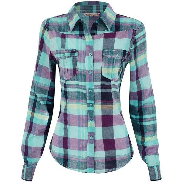 ece5a41cd4 Camisa Xadrez Feminina em Algodão ❤ liked on Polyvore