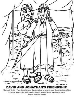 David And Jonathan Friendship Coloring Pages Alternate David