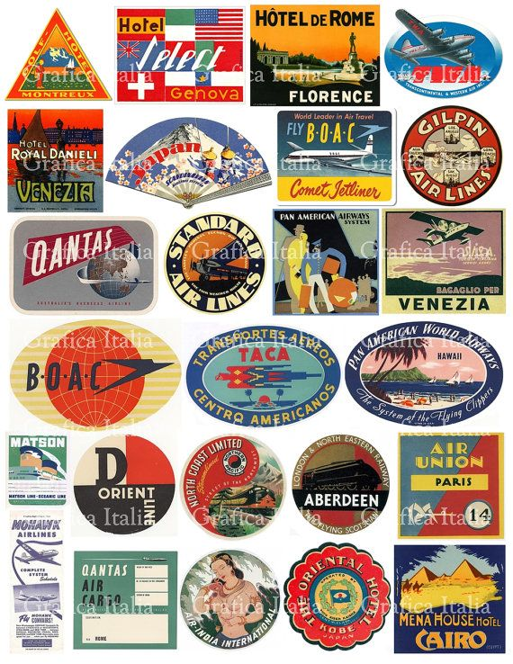 113bf2588ddf 25 Travel Luggage Stickers - Retro Digital Printable Collage Sheets ...