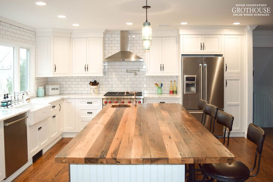 Reclaimed Chestnut Kitchen Island Countertop Designed By Coastal