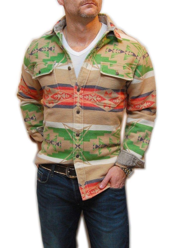 Polo Ralph Lauren Mens Indian Southwestern Flannel Shirt Brown Green Red  Medium  RalphLauren  Western 227135ca62
