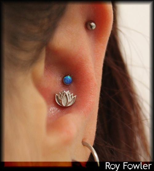 Flower Tattoo With Dermal Piercing: Double Conch Piercing By Roy Fowler Of Studio Seven. Lotus