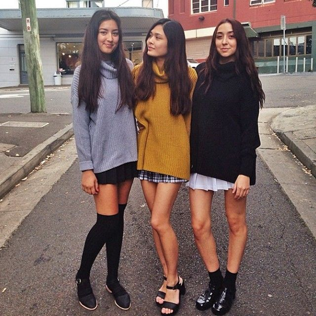 Seeta, Cat and Kumru keep cozy in Oversize Fisherman Turtlenecks and Tennis Skirts! #AAemployees #AmericanApparel #AAFALL