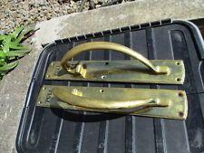"Large Solid Brass Door Handles Pulls Black ""PULL"" Antique / Vintage Style 18"""