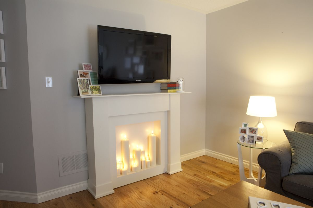 "with a ""fake"" fireplace. I would love to do this"