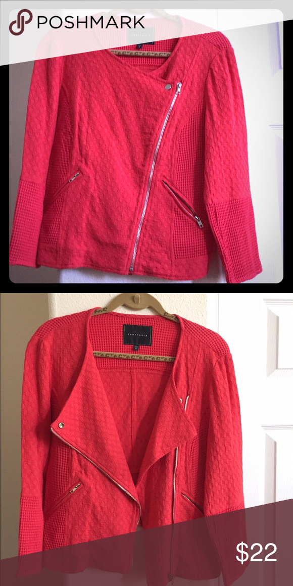 💥👌🏻Red Beauty! 👌🏻💥 Beautiful Red jacket with diagnosed zipper and zipper pockets. Features different pattern patches that make it unique yet easy to pair with multiple outfits! Great jacket for fall that will surely make any outfit pop! Worn once but too snug 😑 hoping it finds a new home...you'll love it! 100% cotton(shell 1) 79% cotton & 21% Rayon (shell 2) Sanctuary Jackets & Coats