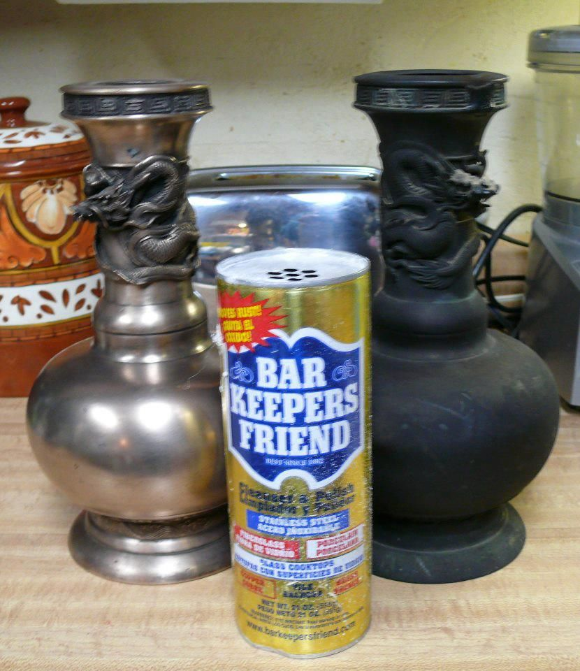 This piece was in a fire. Bar Keepers Friend cleaned it up nicely.