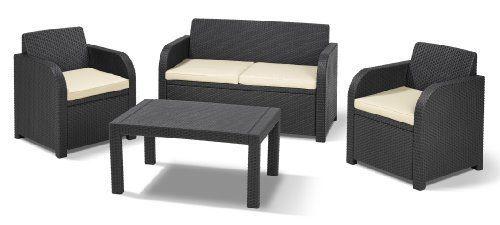 Allibert Carolina 4 Seater Lounge Set Graphite With Cream