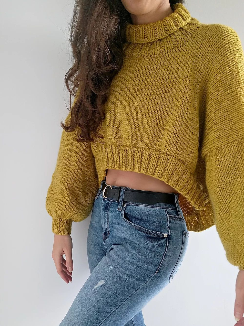 High low sweater cropped pullover knitting pattern in