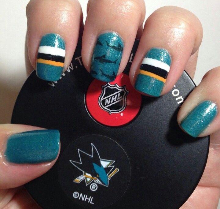 San Jose Sharks Nails Hockey Nails San Jose Sharks Nails Acrylic Nail Designs