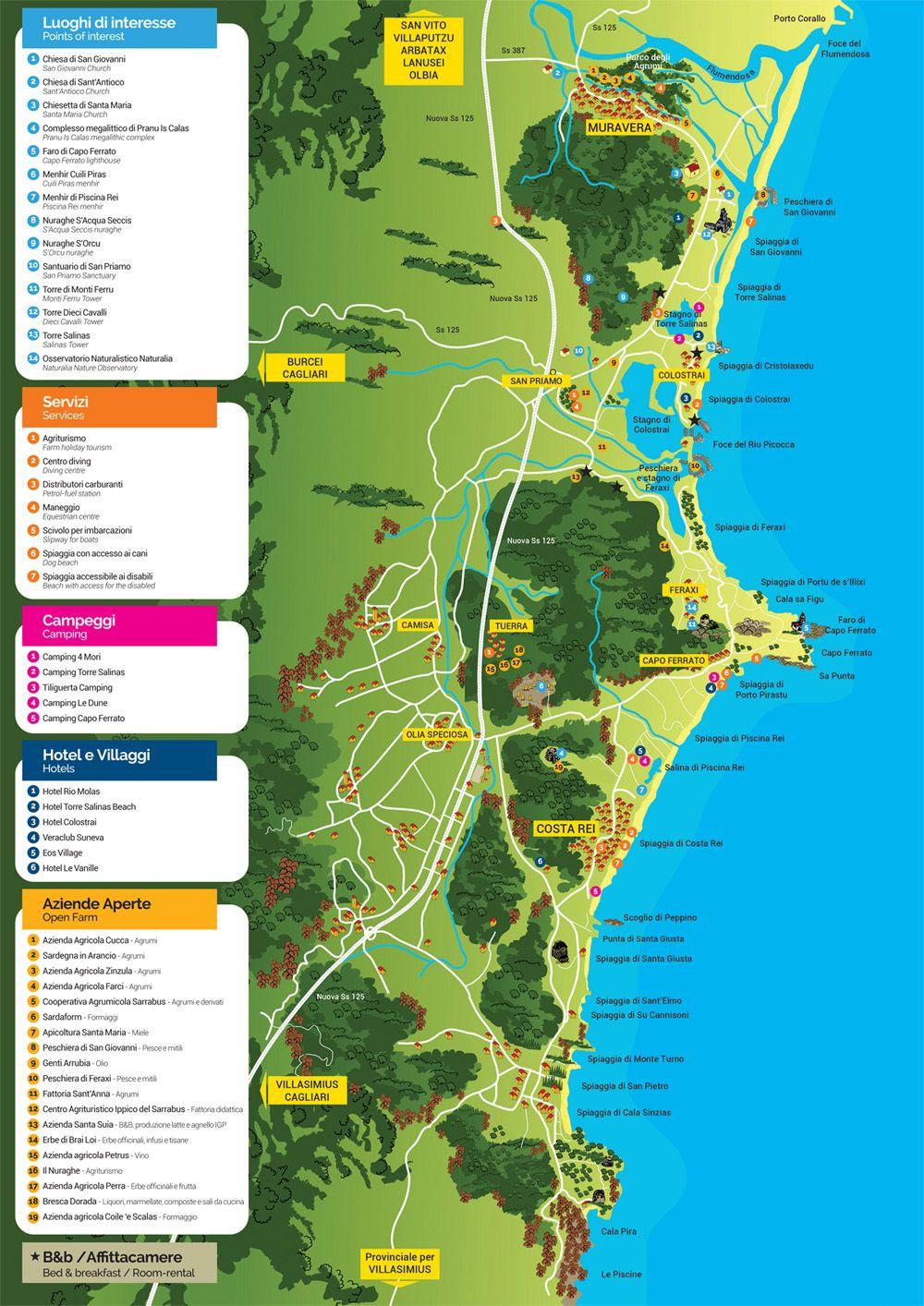 Spiagge Sardegna Sud Cartina.Pin Su Sardegna