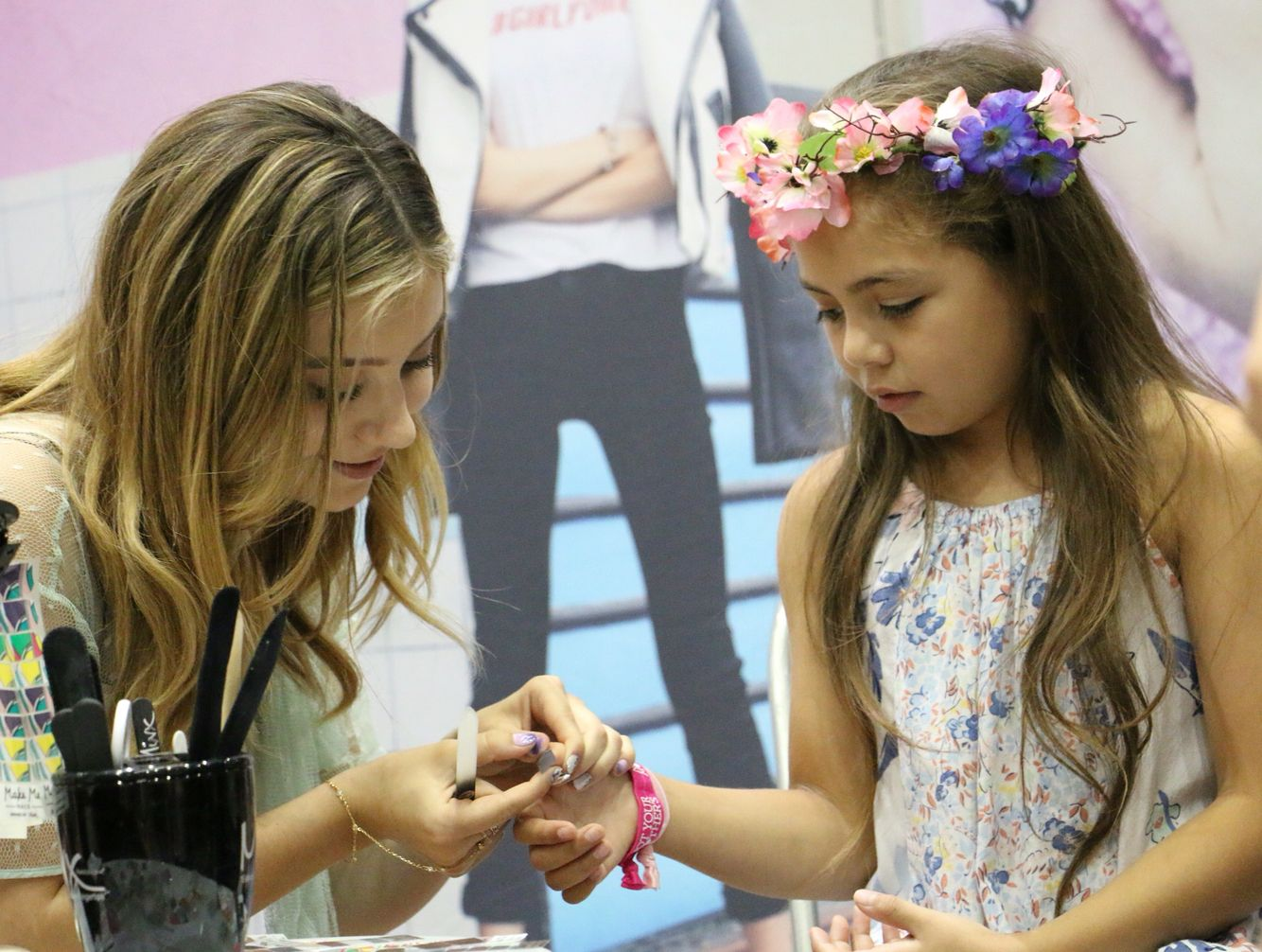 Accent nails wraps, flower crowns, and smiles all around this ...