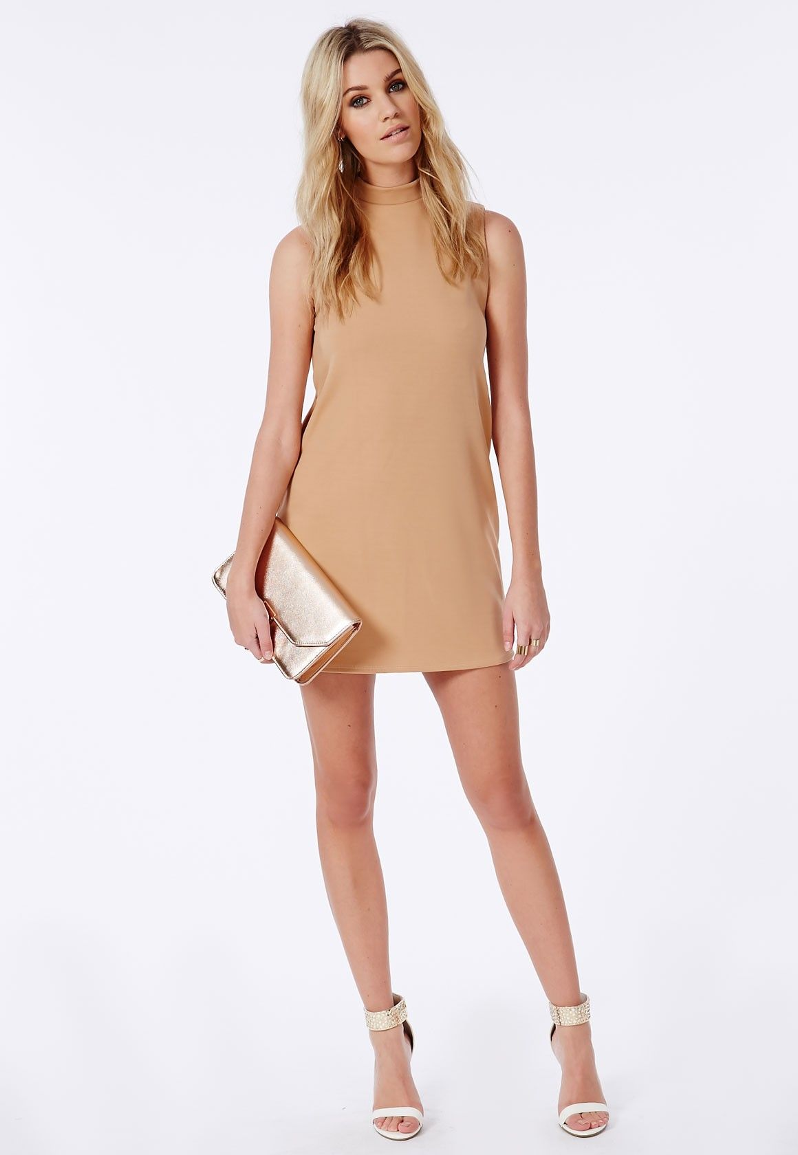 Scuba A-Line Shift Dress Camel - Dresses - Shift Dresses - Missguided