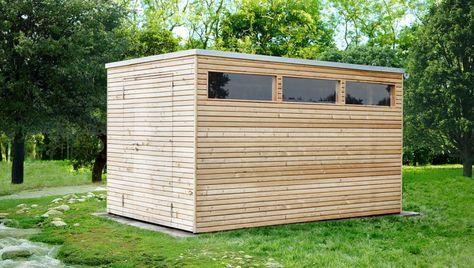 Design Gartenhaus, Holz, Lärchenholz, mit Flachdach | Kert ...