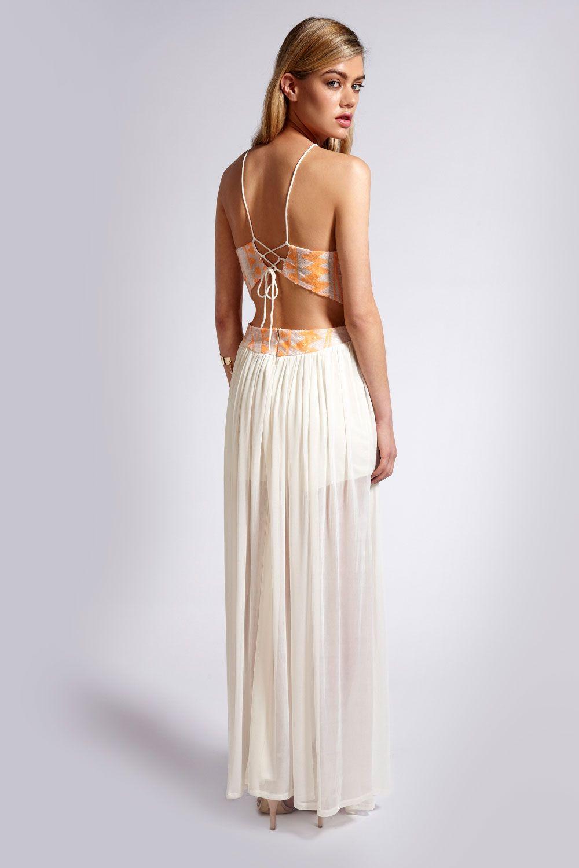 Boutique Leah Bodice Tie Back Mesh Skirt Maxi Dress http://www ...