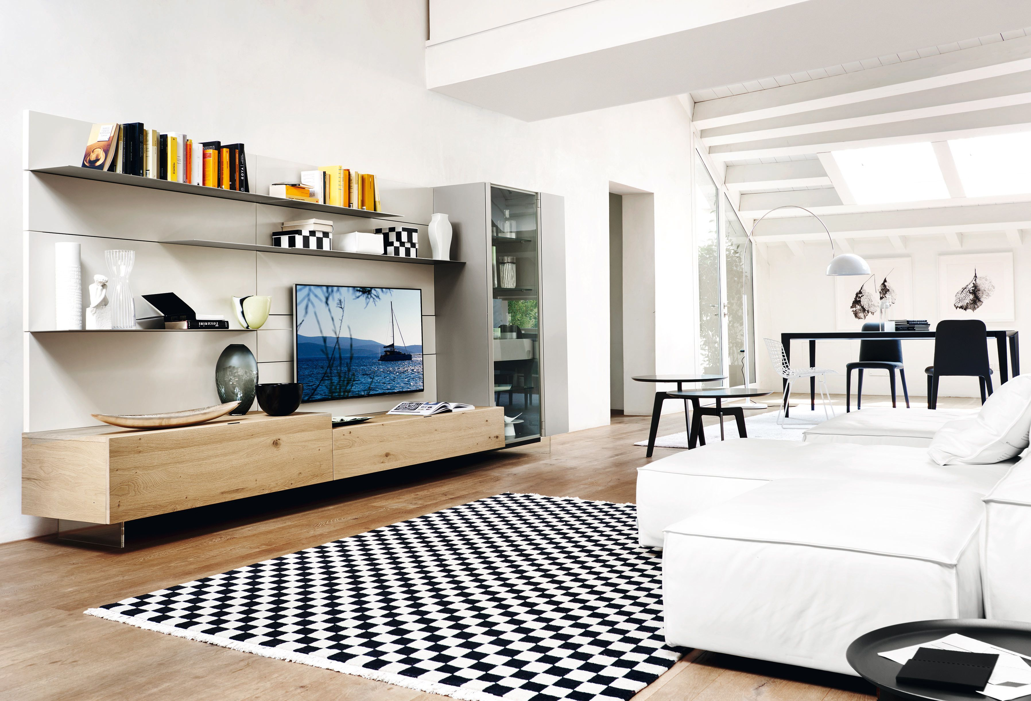 Hochwertige Wohnzimmermöbel ~ Wohnwände helle eiche tv board und wohnzimmer modern