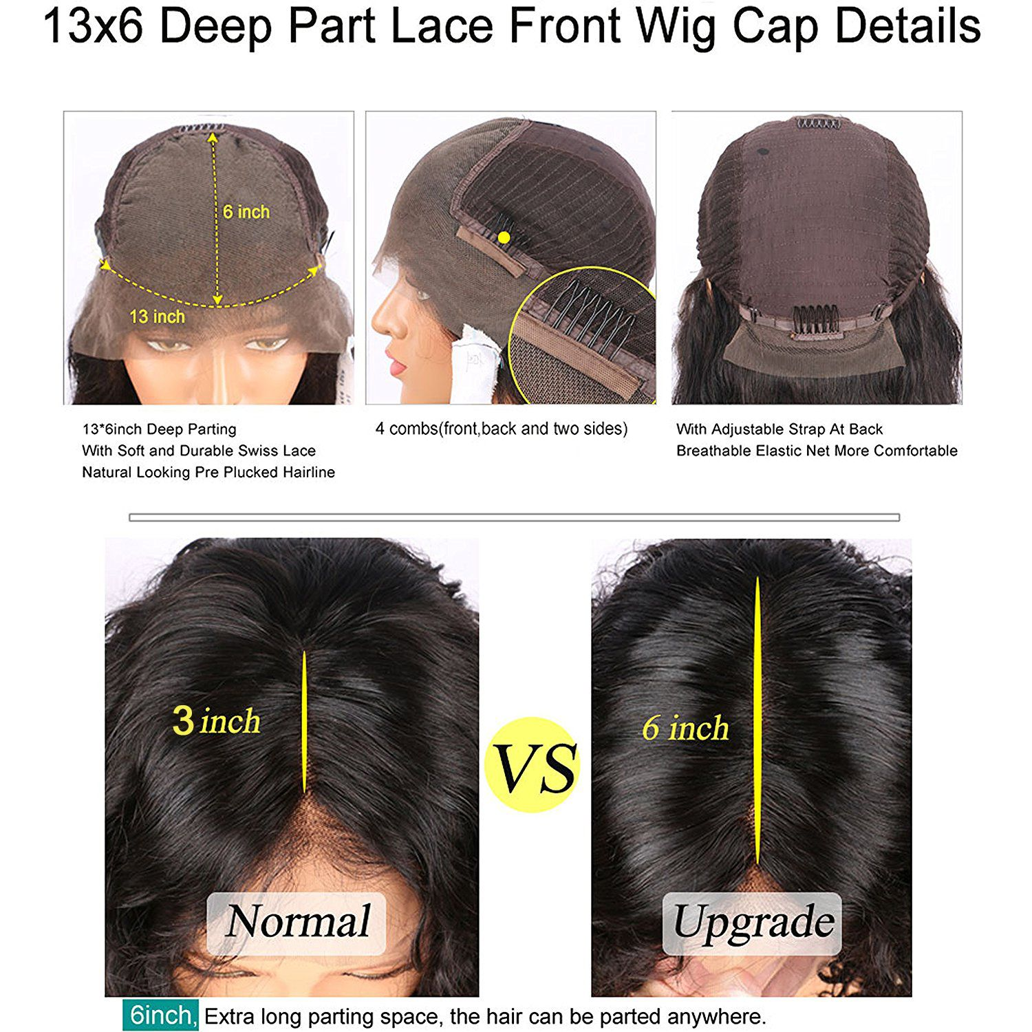Pre plucked xinch deep part density deep curly lace front