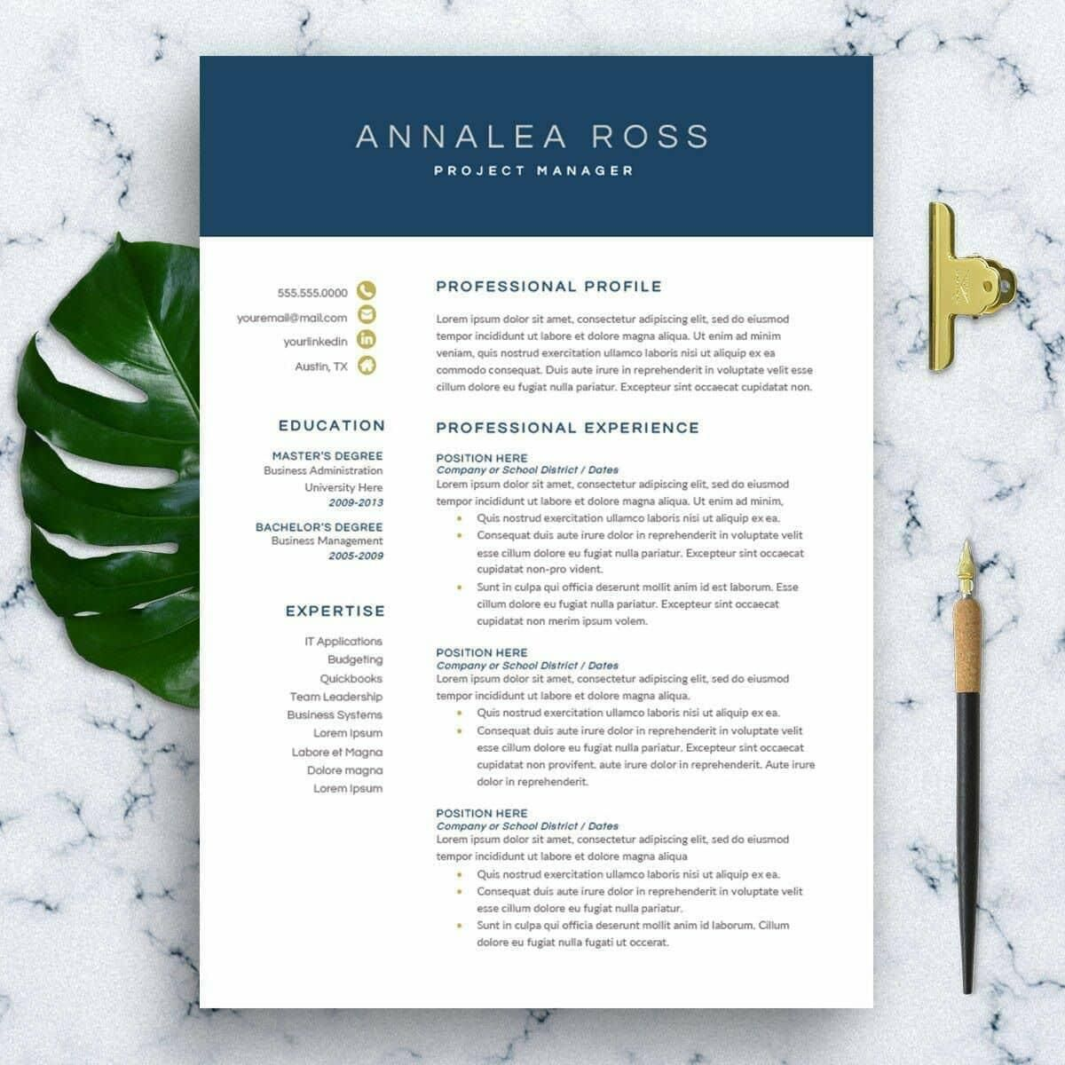 """The """"Modern Resume Template for Word"""" by"""