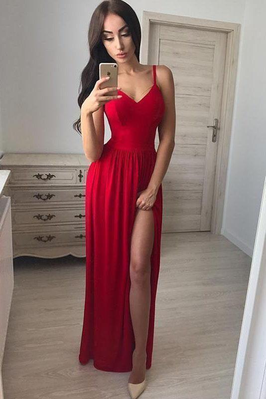 Photo of Simple A line Red Spaghetti Straps Chiffon Prom Dresses V Ne…