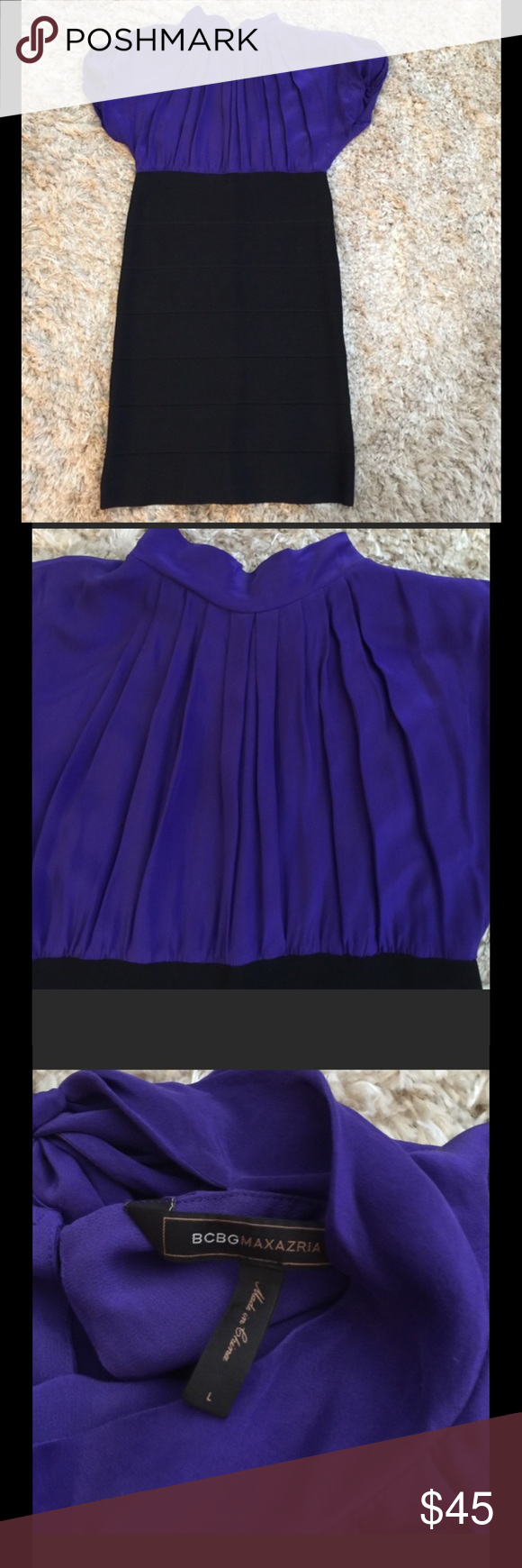 BCBGMaxAziria Blouse Bodycon Dress BCBGMaxAziria  Blouse Bodycon Dress bottom portion is black and top part I say is purple my husband says it's blue. Worn once, in great condition. Very stretchy, can fit 10-14. BCBGMaxAzria Dresses