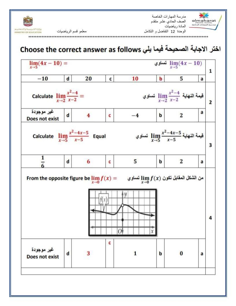 الرياضيات المتكاملة أوراق عمل التفاضل والتكامل للصف الحادي عشر عام مع الإجابات Sjw Periodic Table Answers