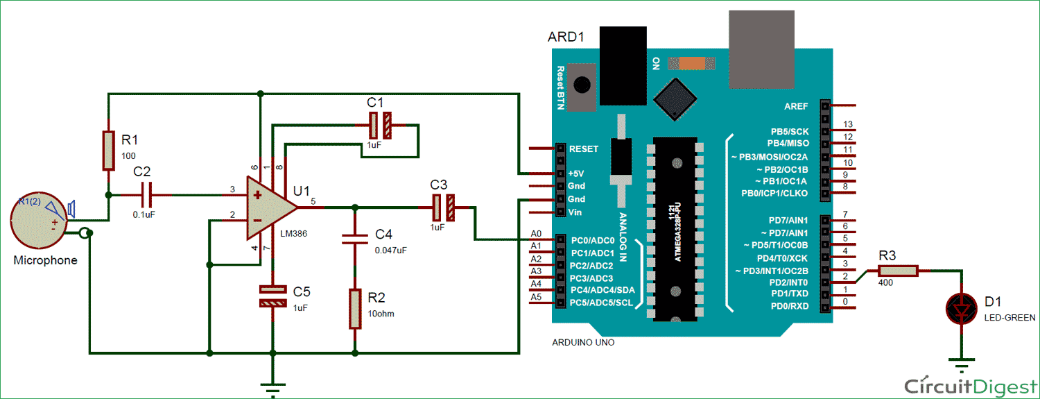 measuring sound in db with microphone and arduino circuit diagram power the electret mic through arduino uno as shown in circuit diagram [ 1500 x 575 Pixel ]