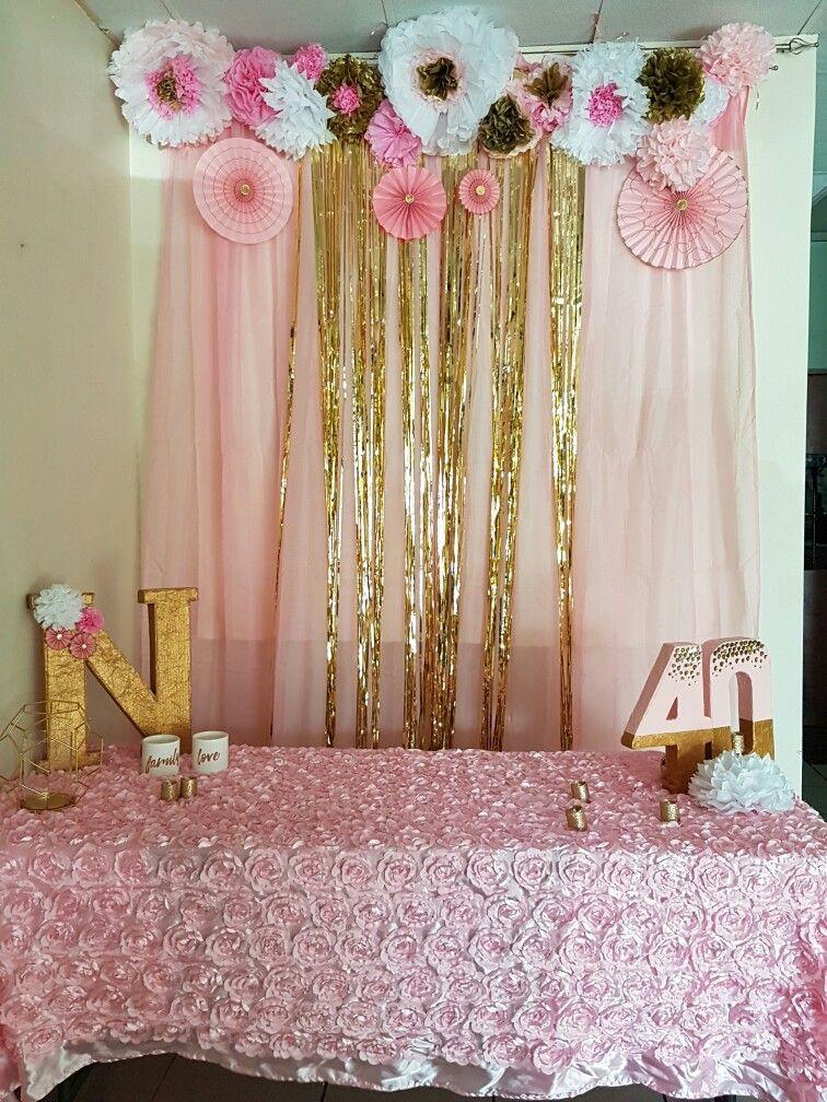 Rosado Y Dorado Idea Para Un Cumpleaños De Dama También Decoracion De Cumpleaños Decoracion Fiesta Cumpleaños Banderas De Feliz Cumpleaños