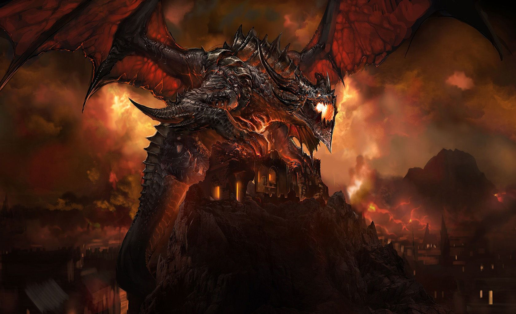Download World Of Warcraft Fire Dragon Monster Wallpapers High