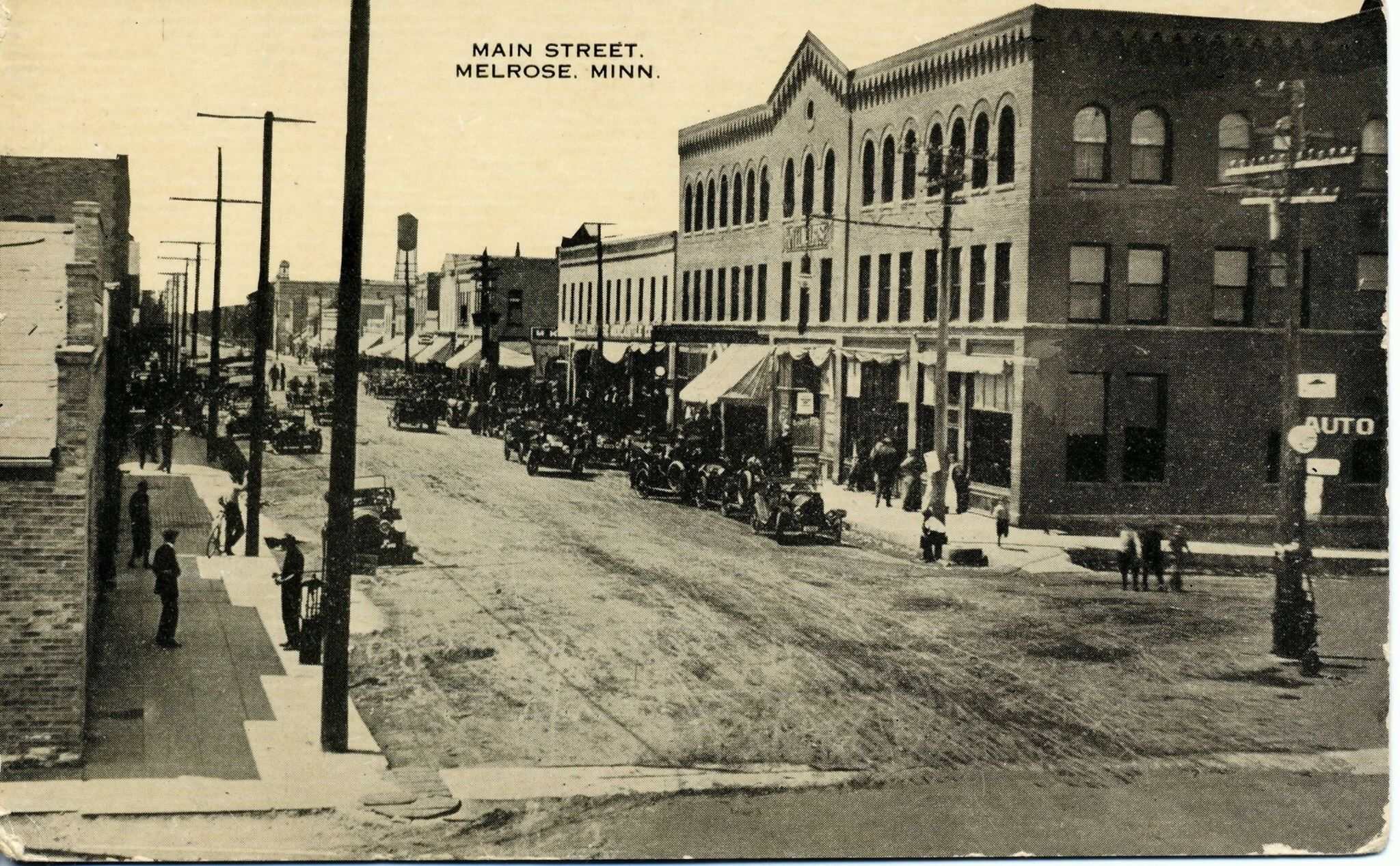 Early photo of Melrose, Minnesota. Park rapids, Early