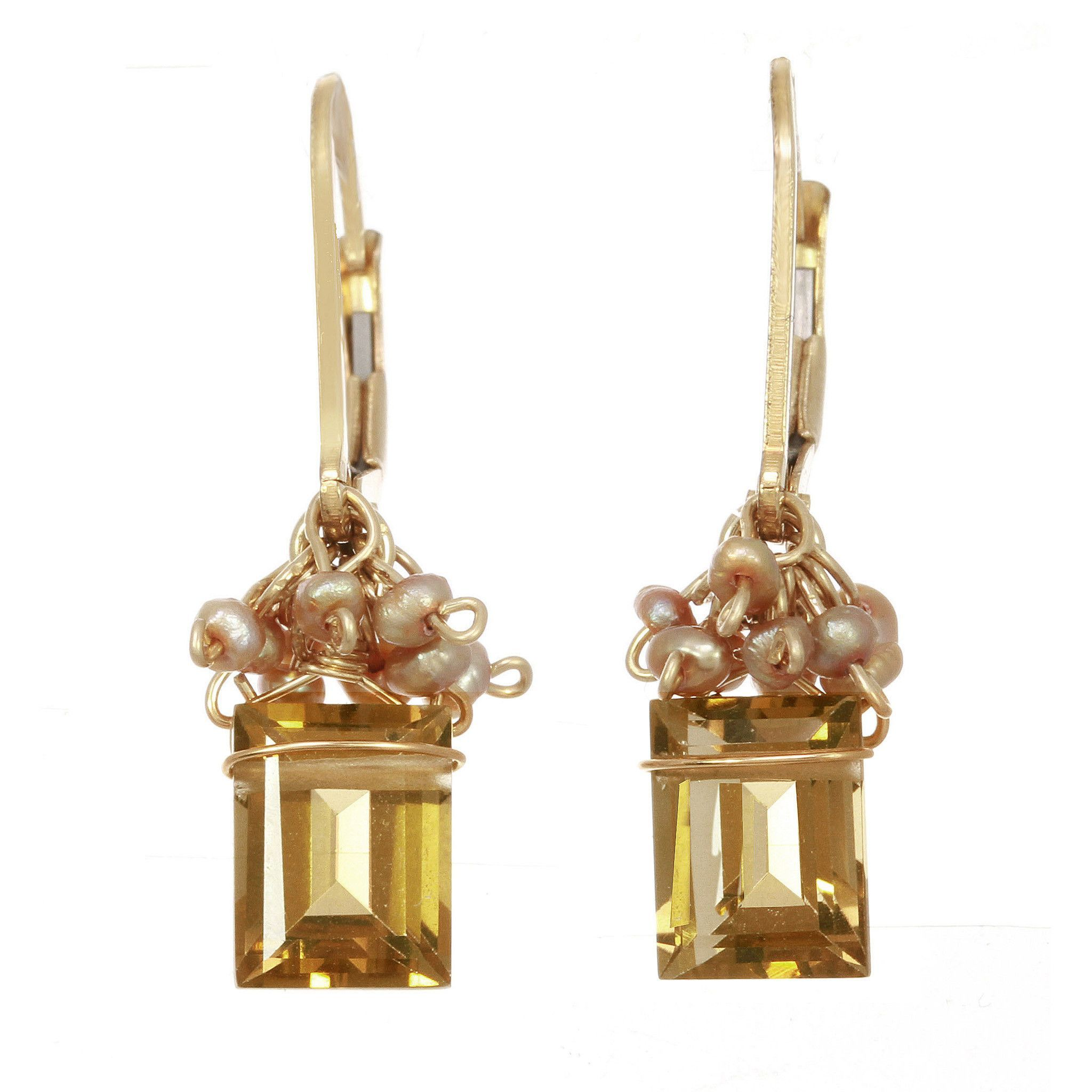 Michelle Pressler Earrings Whiskey Quartz and Pearl 2377 Artistic