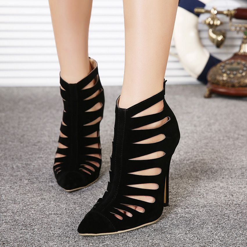 2017 Summer Sexy Girl Pumps Gladiator Faux Suede Zipper Hollow Out High Heels Ladies Pointed Toe Sandals Woman Wedding Shoes #Affiliate
