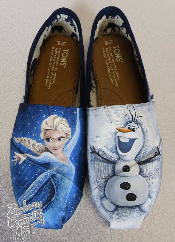 san francisco 21107 efee5 Disneys Frozen Toms shoes by ZacharyConnellyArt on Etsy, 185.00  Toms   Pinterest  Schoenen, Modellen and Disney