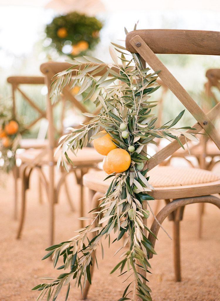 Olive branch and citrus ceremony décor | Destination Weddings at Bear Flag Farm…