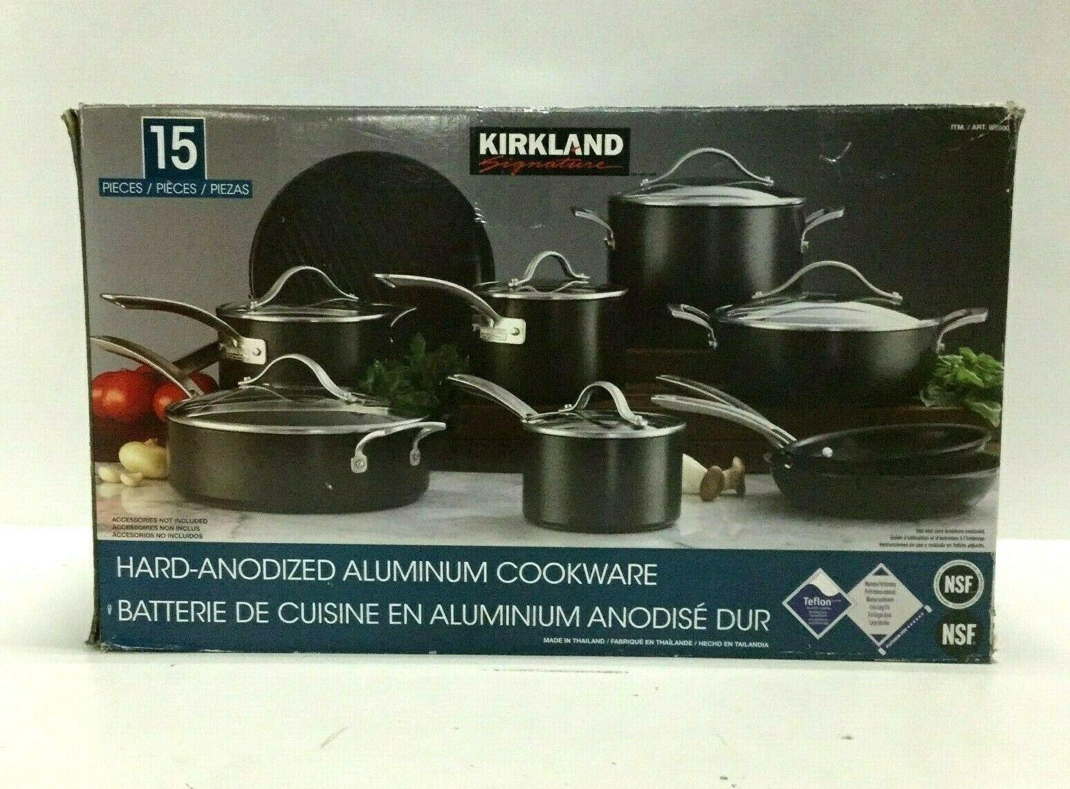Kirkland Signature 15 Piece Hard Anodized Non Stick Aluminum