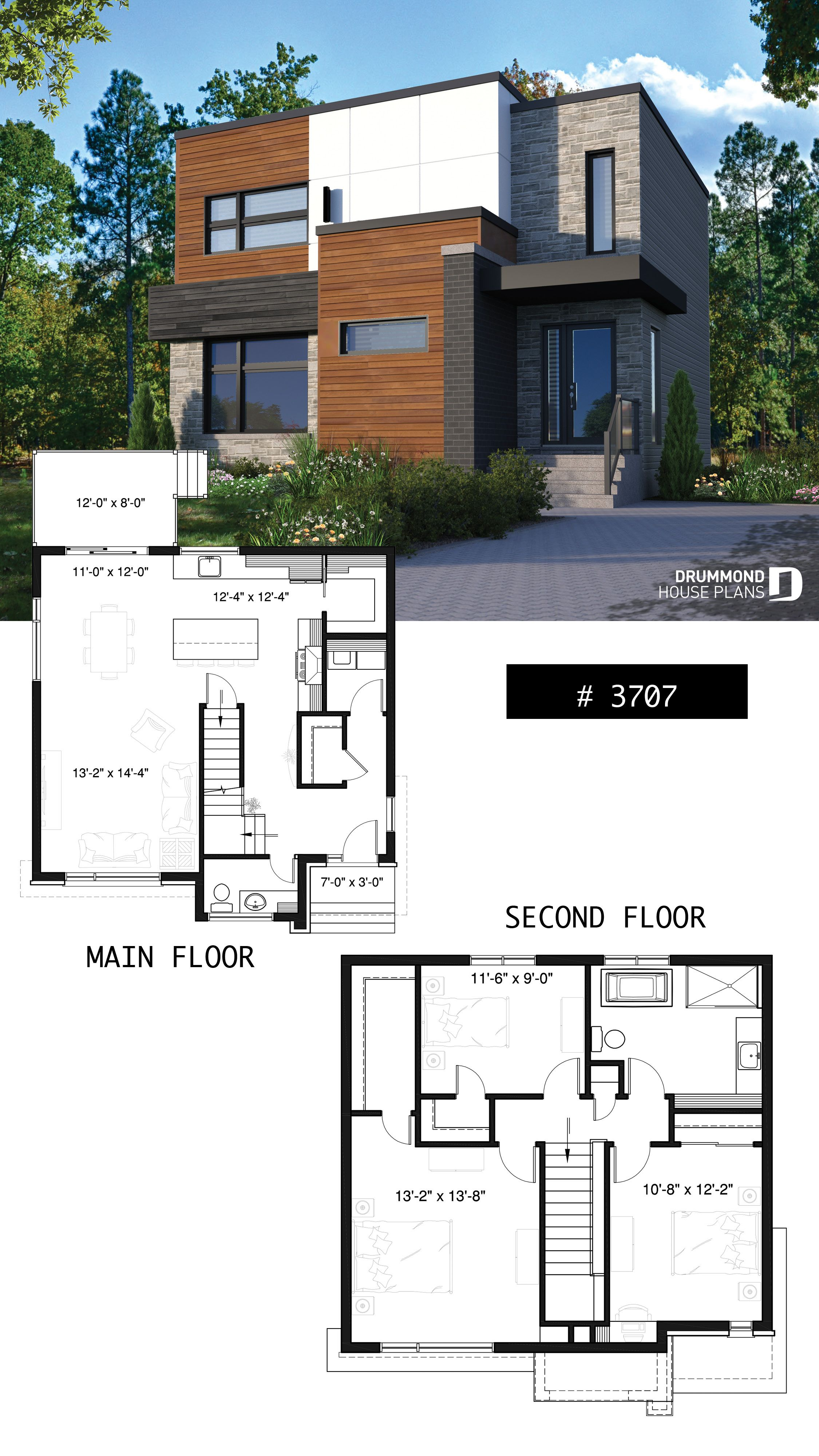 Discover The Plan 3707 Lavoisier Which Will Please You For Its 3 Bedrooms And For Its Contemporary Styles Modern House Floor Plans Bungalow House Design Two Story House Design