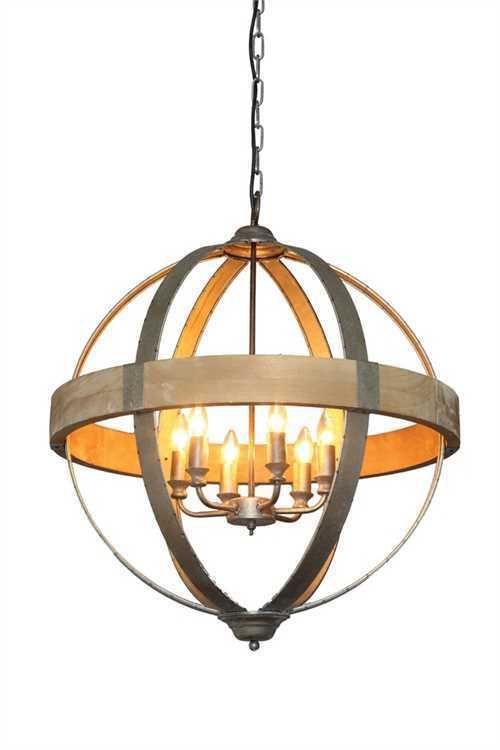 Vintage Style Iron Wood Orb Sphere Chandelier Pendant Light Fixture Old World 319 00