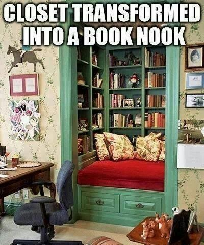 converted closet book nook