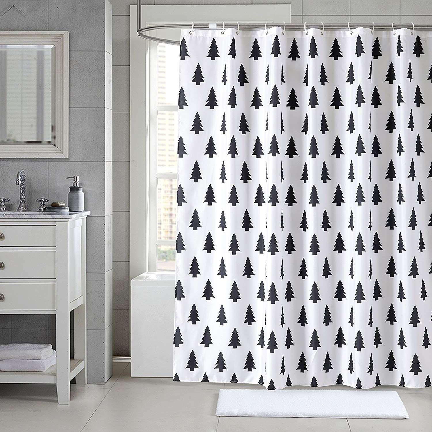 Love This Simple Black And White Curtain With With Trees Bathroom Shower Curtain Sets Fabric Shower Curtains Cloth Shower Curtain